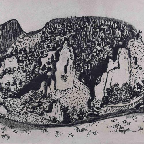 Paul KUHFUSS (1883 1960) 弗朗科尼亚森林(1936年)素描 西伯利亚粉笔画,纸上48厘米x64厘米,背面是WVZ1892号,并有题记。