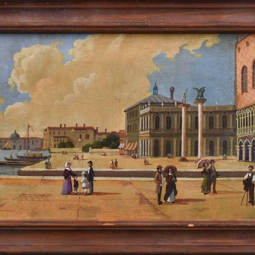 Unbekannter Künster des 19./20. Jhd. Venise Piazza San MarcoPeinture Huile sur t…