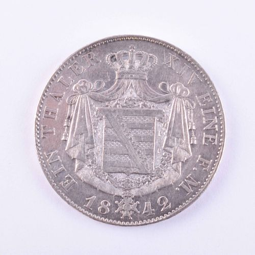 1 Taler Sachsen Coburg Gotha Ernst 1842 G, très beau +, AKS 73