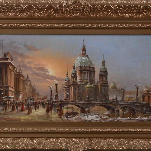Heinz SCHOLTZ (1925) 柏林大教堂画作 油/铜板,20厘米x40厘米,有框34厘米x54厘米,左下角有签名