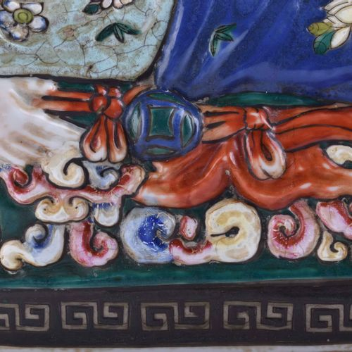 Opiumkissen China wohl 19. / 20. Jhd. 彩绘,支架下红色6字标记,21厘米×41厘米×10厘米