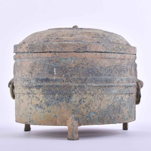 Deckelgefäß China Han Dynastie 青铜,绿锈,有烧结,三脚站立,高:13厘米,直径15.5厘米