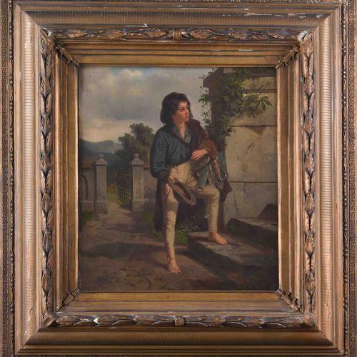 Künstler des19. Jhd. 乞讨的男孩绘画 油画/帆布,54厘米x41厘米,框架79厘米x75厘米,右下角有签名,没有解释,画布上有两个最小的洞。