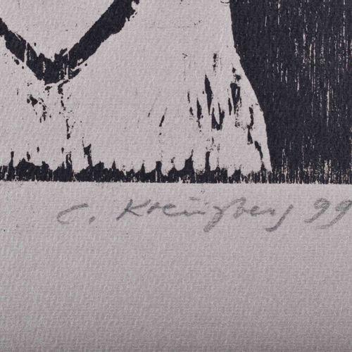 Carin KREUZBERG (1935) Nu avec vaseGraphique gravure sur bois, 63,5 cm x 48 cm s…