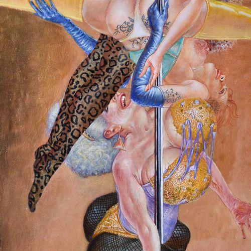 Harald K. SCHULZE (1952) an der StangePeinture acrylique/toile, 229 cm x 90 cm, …