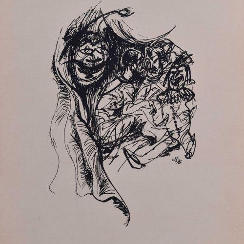 Egmont SCHAEFER (1908 2004) Le MagicienDessin encre / plume sur papier 41 cm x 3…