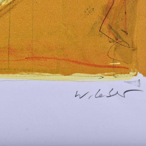 Wolfgang LEBER (1936) Wanderer in der StadtGrafik lithographie en couleurs, 46,5…