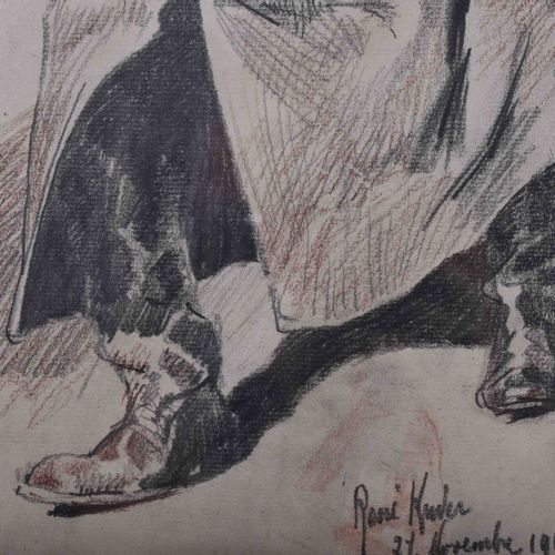 René KUDER (1882 1962) SoldatZeichnug Graphite/crayon de couleur, 40,5 cm x 32 c…