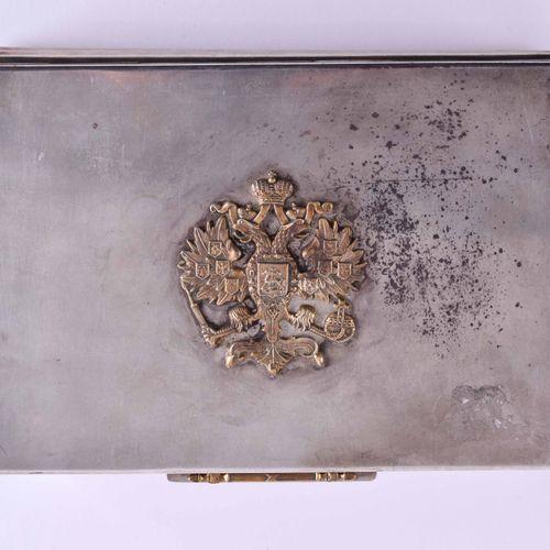 Zigarrenschatulle Russland 银质84 Zolotnik,铰链,盖子上有双头鹰的冠冕,西里尔字母主标记,4.5厘米x 16.5厘米x 1…