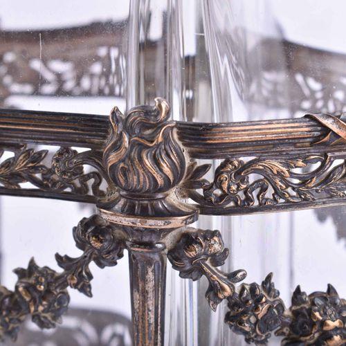 Menage 3 pièces, dans un cadre en métal, argenté, probablement anglais vers 1920…