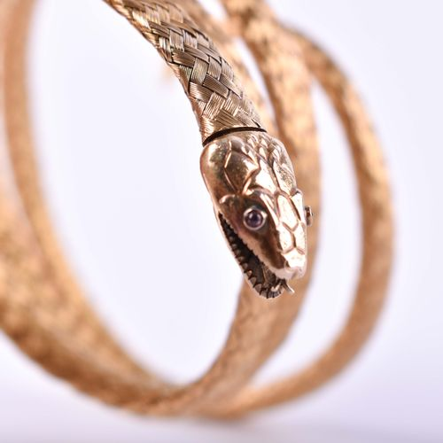 Schlangenarmband 19. Jhd. GG testé 750/000, se porte du poignet au bras, travail…