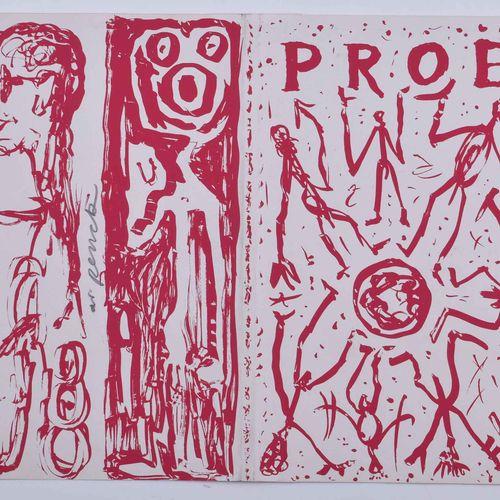A.R. PENCK (1939 2017) PROE 书籍封面图画 彩色石板画,50厘米x20.8厘米,有必要的折页,保存完好,在中间有手写签名。