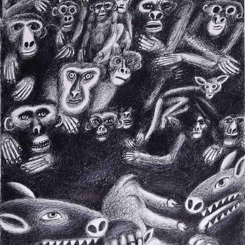 Herbert BERGMANN HANNAK (1921 2013) 犯罪者,受害者,旁观者绘画 水墨/毡尖笔,42厘米x 29.5厘米,页面中央有B H的字…