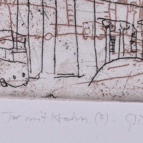 Günther BLENDINGER (1946) Großes Tor mit Kran Brandenburger TorGrafik 手工纸上的彩色蚀刻画…