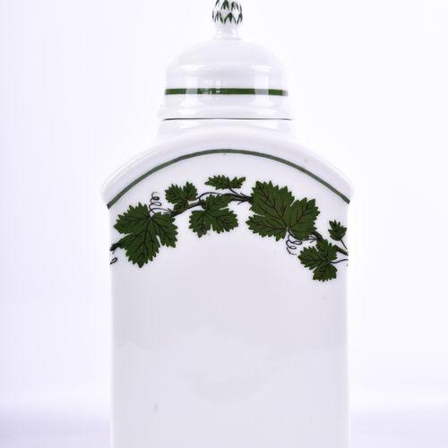 Teedose Meissen Décor de feuilles de vigne, marque d'épée bleue, 2e choix, h : 1…