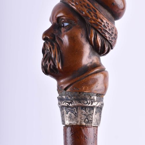 Gehstock um 1900 手柄精雕细琢成头的形状,总长度:90厘米