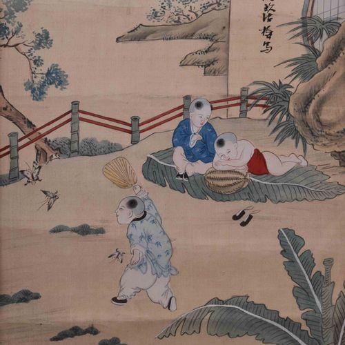 Seidenmalerei China Qing Dynastie 视觉尺寸34厘米x26厘米