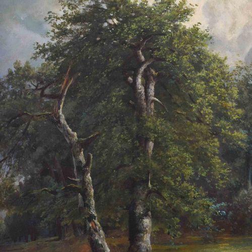 Künstler des 19. Jhd. 有农庄和奶牛的风景画 油/木,61.5厘米x94厘米,右下角有签名,但未作解释