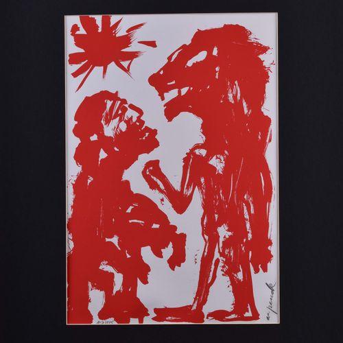 A.R. PENCK (1939 2017) 与狮子在一起的人(1991),彩色绢印,45.5cm x 31.5cm,右下角有签名,编号107/125