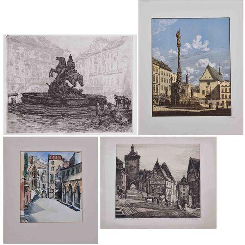 Konvolut Stadtansichten 12件,石版画和蚀刻画 部分彩色,1幅水彩画,不同的艺术家,其中包括彼得 戈兹 帕尔曼(1908 1966)的2…