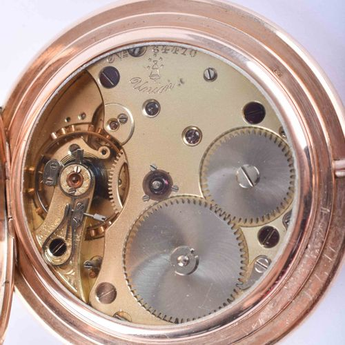 Taschenuhr Union Glocke 1895 GG 585/000,3个金盖,珐琅表盘,阿拉伯数字秒针,总重约115.5克,时钟运行,盖子上有HP字…