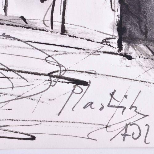 Manfred BÖTTCHER (1933 2001) 阿德隆美术馆前的雕塑绘画 墨水/钢笔/毛笔,28厘米×35.5厘米,右下方有艺术家的手写题词,安装在支…