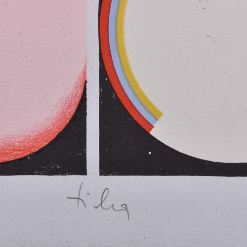 Hans TICHA (1940) SingerGraphic 彩色石板画,45厘米x33.5厘米,编号59/60,在中央下方有签名和日期 79