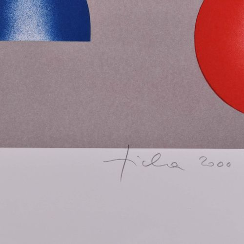 Hans TICHA (1940) figure rouge et bleueGraphique lithographie en couleurs sur pa…