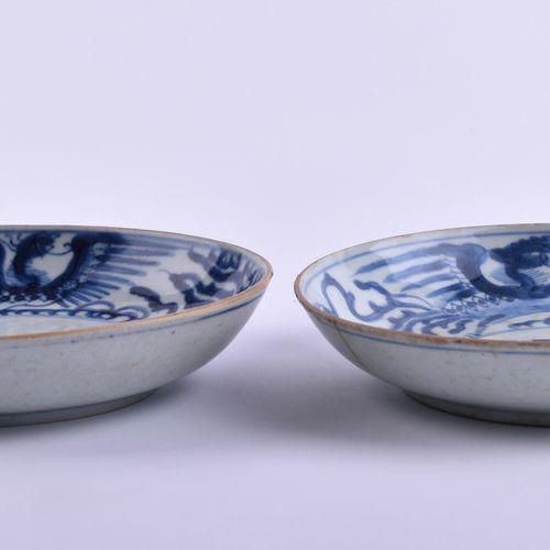 Paar Teller Bleu de Hue China um 1820 Porcelaine d'exportation Chine pour le Vie…