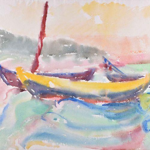 Fritz DUDA (1904 1991) Koserow beach 1954Dessin aquarelle, 41,5 cm x 60 cm, cach…