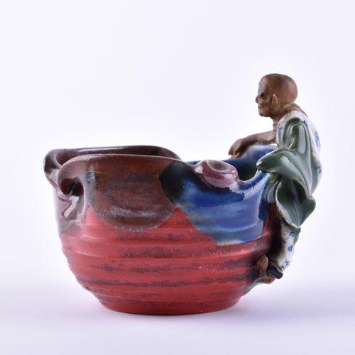Schale China Qing Dynastie peint en couleur, marqué sur le côté, h : 9 cm, Ø 9 c…