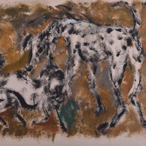 Manfred BÖTTCHER (1933 2001) 玩狗绘画 纸上油彩/混合媒体,35cm x 45cm,背面有遗产印章
