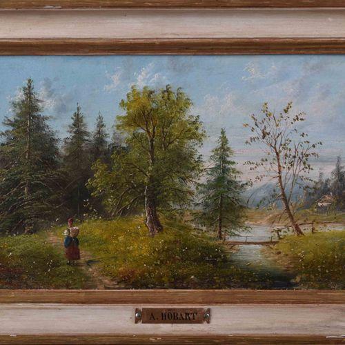 Albert RIEGER (1834 1905) 有河的风景绘画 油/木,18cm x 31cm,有框25.5cm x 38.5cm,左下方有笔名A.Höba…