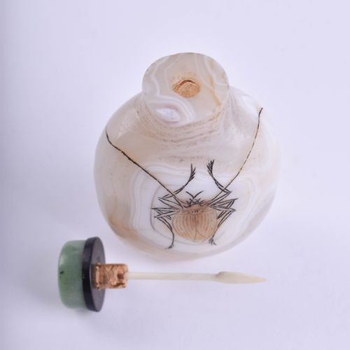 Snuffbottle China um 1900 玛瑙配玉石封口,正面刻有苏铁,高:8厘米