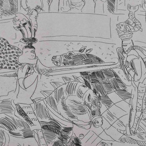 Harald METZKES (1929) RitterkampfGrafik 手工纸上的蚀刻画,版材30厘米x39.5厘米,纸张39.5厘米x53.5厘米,右…