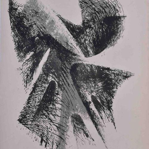 Bernhard HEILIGER (1915 1995) 抽象构成图 彩色石版画,69cm x 52cm,右下角有签名和日期59,可能是版前样张,背面有同一张…