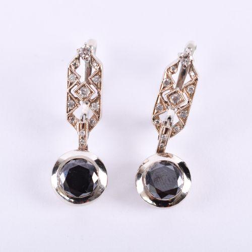 Schwarze Diamantohrringe 585 WG, poinçonné, les diamants noirs chacun env. 1,3 c…