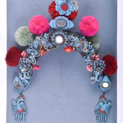 Eisvogel Haarschmuck China Qing Dynastie 19. Jhd. 宫廷用的发饰,这里是一顶皇冠,极其罕见,翠鸟羽毛丝,珍珠和各…