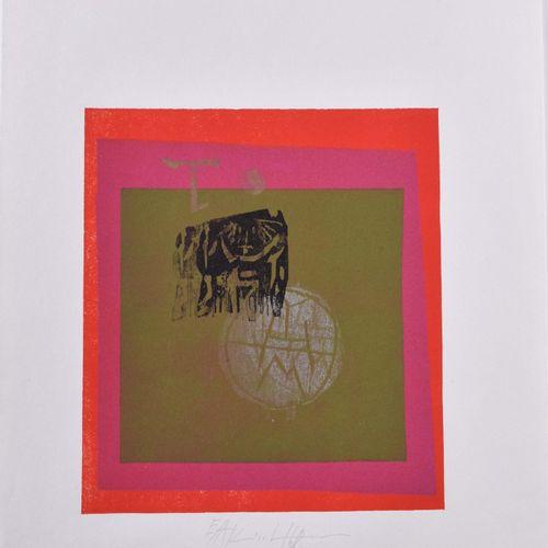 Ingo KIRCHNER (1930 1983) 五色茶》平面图 彩色线刻画,49.5厘米 x 35厘米,中央下方有签名和日期68,左侧有E.A.字样。