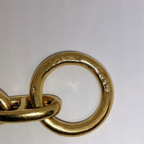 HERMES Paris BRACELET in 18K gold (750/°°), signed, anchor chain model, circa 19…