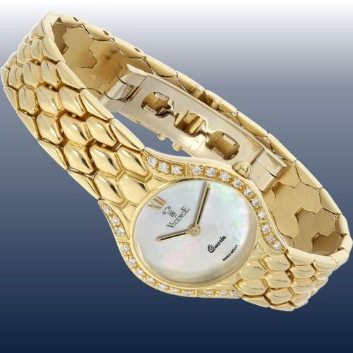Wrist watch: noble, golden ladies' watch of the brand Vicence with diamond setti…
