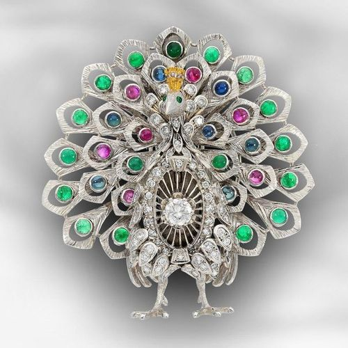 Brooch/pin: extraordinary, probably unique vintage goldsmith work with coloured …