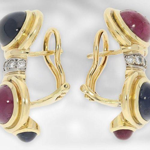 Bijoux d'oreilles : travail d'orfèvre de haute qualité, clips de tube en rubis/s…
