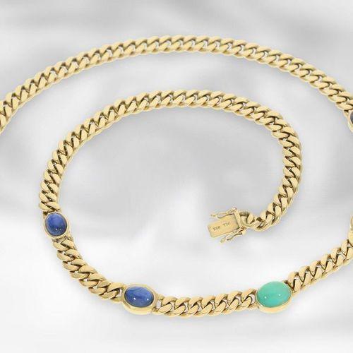 Collier : chaîne de trottoir vintage en or massif et lourd avec saphirs et émera…