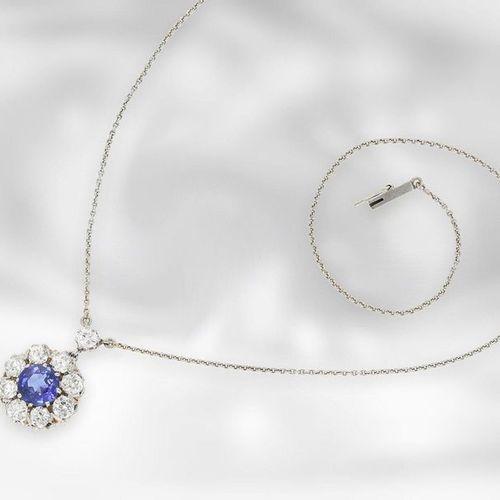 Collier/chaîne/pendentif : très beau collier antique avec saphir très fin et dia…