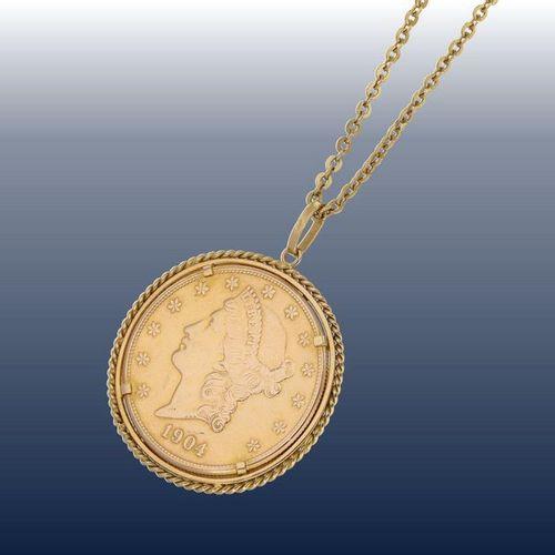Chaîne/collier/pendentif : longue chaîne d'ancre en or avec un pendentif en arge…