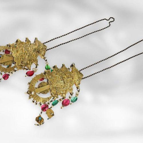Bijoux d'oreille : boucles d'oreille exotiques et anciennes avec pierres de coul…
