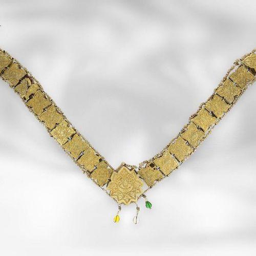 Collier : collier asiatique original en or antique avec des pierres et des perle…