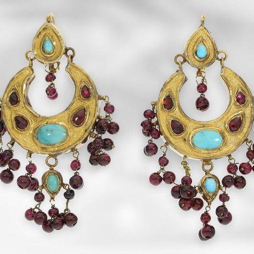 Bijoux d'oreille/collier/bague : ensemble de bijoux indiens anciens composé de b…
