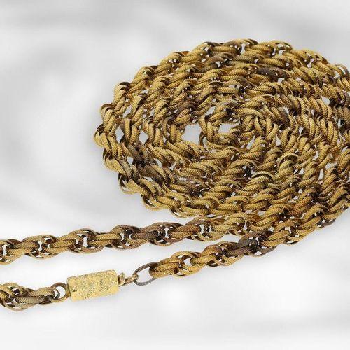 Collier : long cordon antique de belle qualité, en or jaune 14K  Environ 95cm de…